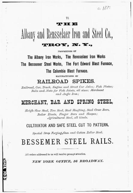 Rensselaer Iron Works, Rail Mill, Adams Street & Hudson River, Troy, Rensselaer County, NY