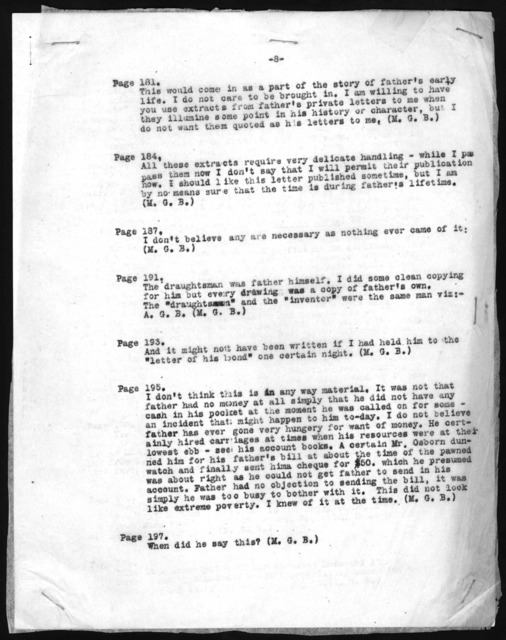 Report from Alexander Graham Bell and Mabel Hubbard Bell to Gilbert Grosvenor, undated