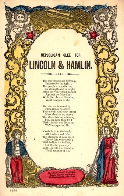 Republican glee for Lincoln & Hamlin. H. De Marsan, publisher, &c., 60 Chatham St., N. Y