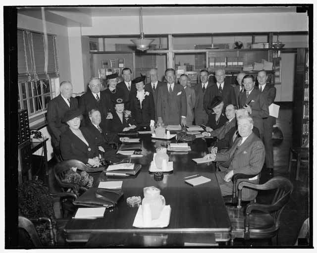 Republican leaders express sentiment for late national convention at Washington meeting. Washington, D.C., Dec. 7. Republican Party leaders and members of the Executive Committee of the Republican National Committee met today to discuss presidential campaign problems and consider an embarrassing deficit, at the same time many of the members expressed sentiment for a late national convention and a shorter presidential campaign in 1940. Left to right, seated: Mrs. Paul Fitzsimons, Rhode Island; Daniel Pomeroy, Vice Chairman from New Jersey; Mrs. Worthington Scranton, Vice Chairman from Penna.; Mrs. John E. Hillman, Vice Chairman from Colorado; Rep. Joseph W. Martin Jr., House Republican Leader; Henry P. Fletcher, General Counsel from Rhode Island; and Ezra R. Whitla, Idaho. Standing, left to right: Harrison E. Spangler, Iowa; Daniel O. Hastings, Delaware; Mrs. Margaret Wyeth, Missouri; Walter S. Hallanan, West Virginia; Mrs. Bertha D. Baur, Illinois; R.B. Creager, Texas; John Hamilton, Chairman; Harvey Jewett Jr., South Dakota; Robert P. Burroughs, New Hampshire; Harold W. Mason, Secretary from Vermont; F.F. Taggart, Ohio; Sinclair Weeks, Treasurer, Eastern Division, Mass.; Sam F. Pryor, Jr., of Conn.