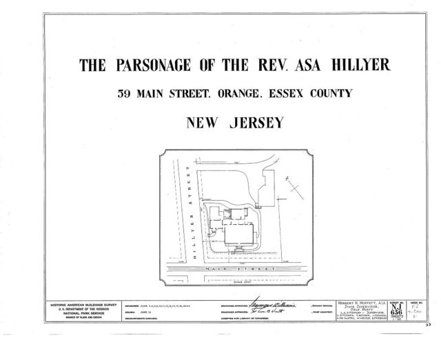 Reverend Asa Hillyer Parsonage, 59 Main Street, Orange, Essex County, NJ