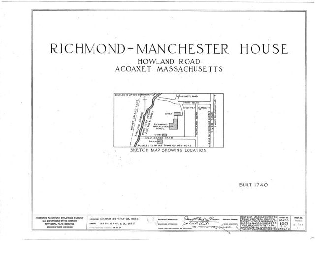 Richmond-Manchester House, Howland Road, Acoaxet, Bristol County, MA