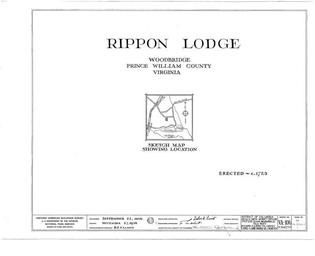 Rippon Lodge, State Route 638, Woodbridge, Prince William County, VA