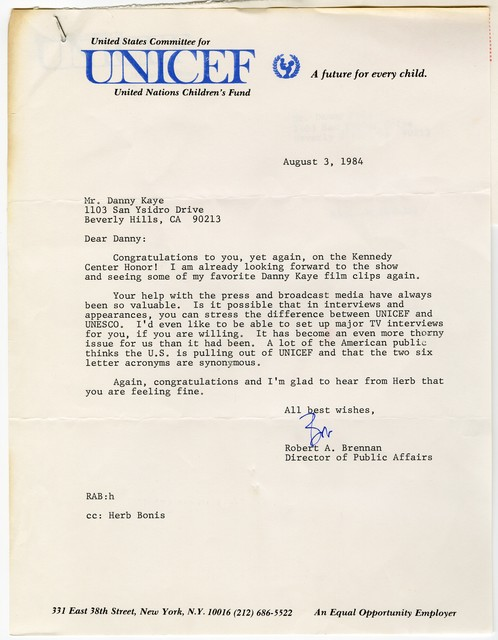 [ Robert A. Brennen, UNICEF, to Danny Kaye, August 3, 1984]