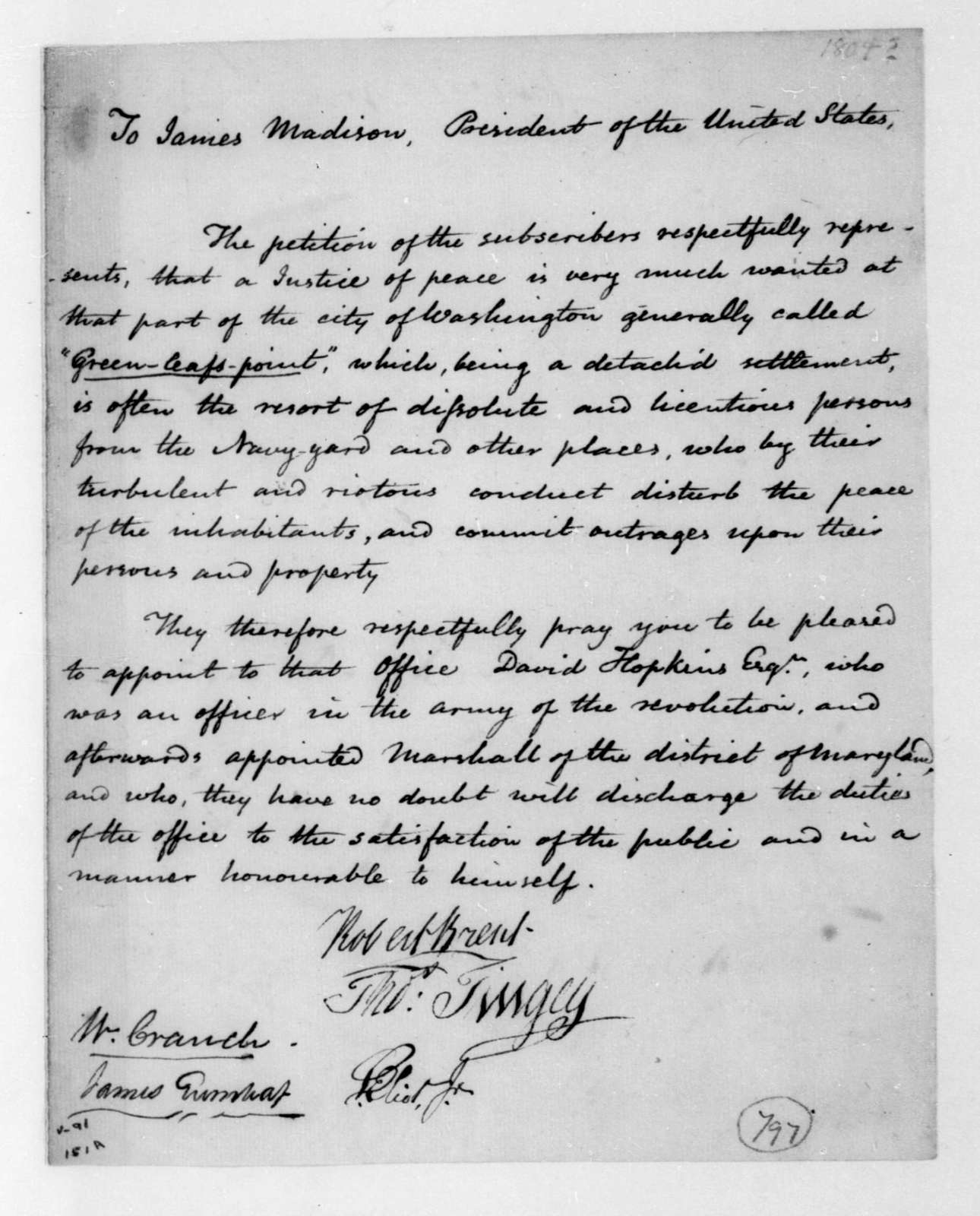 Robert Brent to James Madison. Petition.
