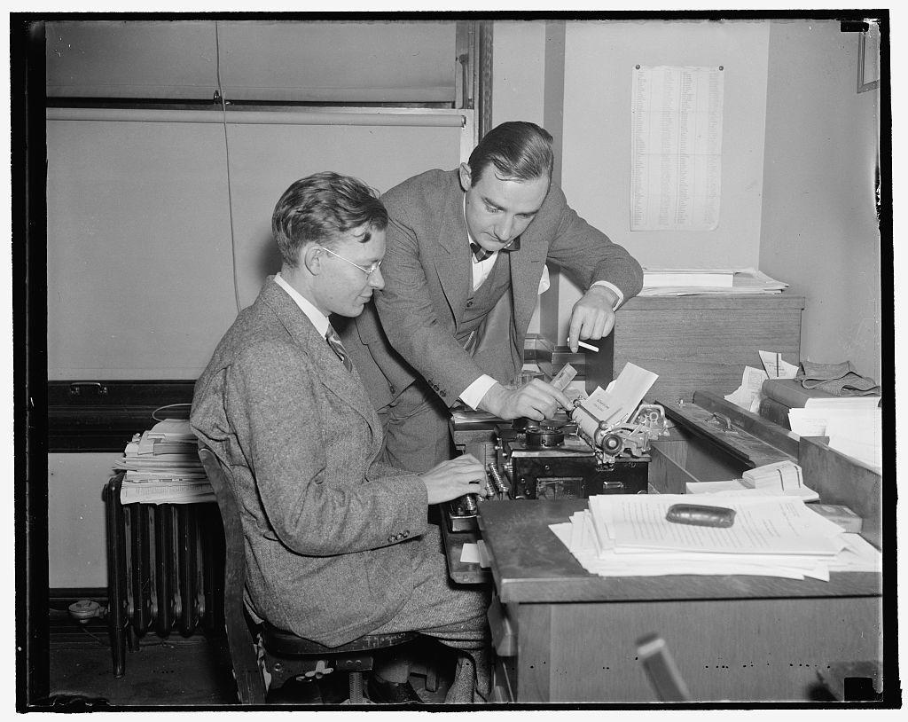 Robert Kit[...] at typewriter. Joseph Alsop made for Hartford Courant, 11/15/37