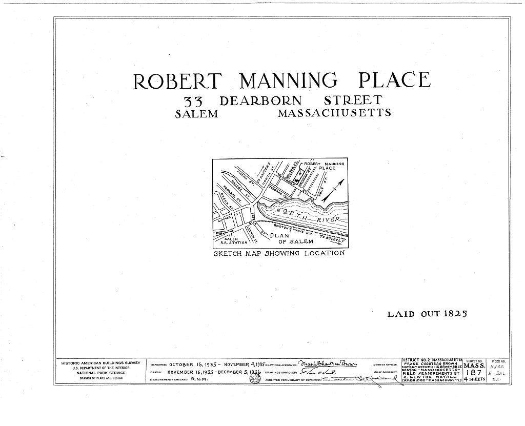 Robert Manning Place, 33 Dearborn Street, Salem, Essex County, MA