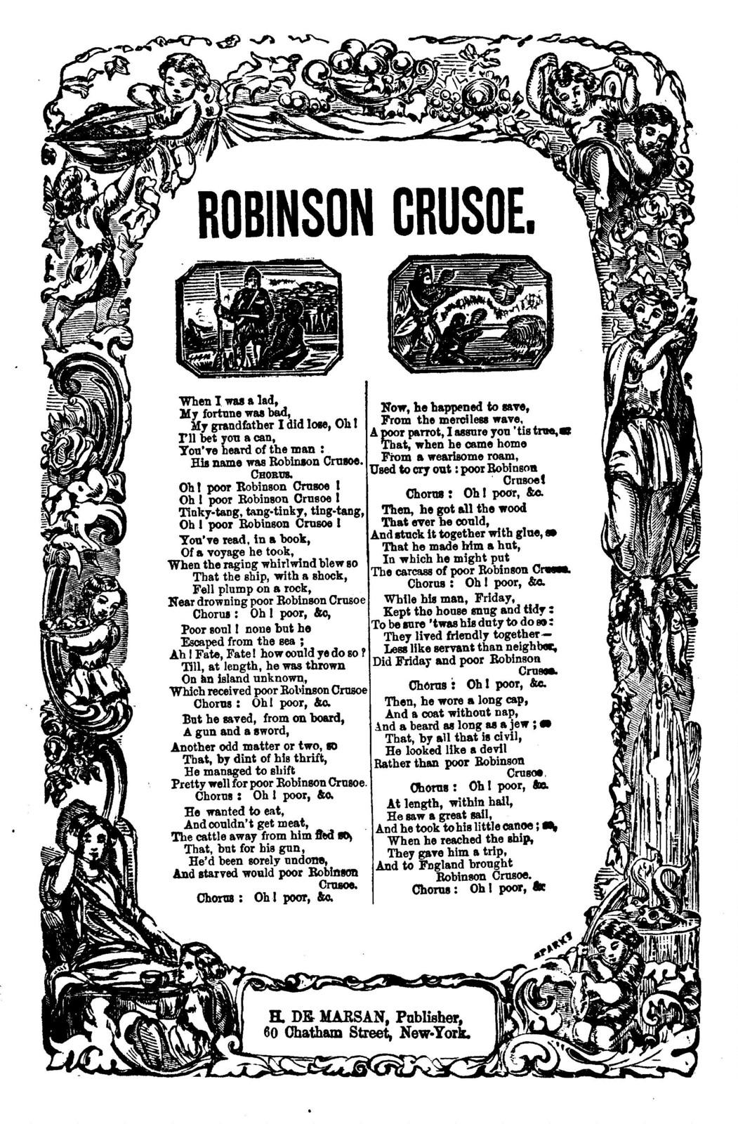 Robinson Crusoe. H. De Marsan, Publisher, 60 Chatham Street, N. Y