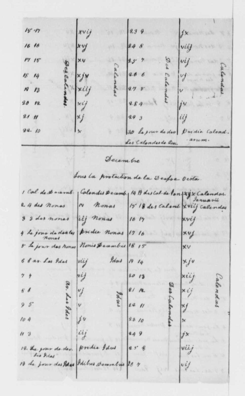 Roman Numerals and Calendar, no date