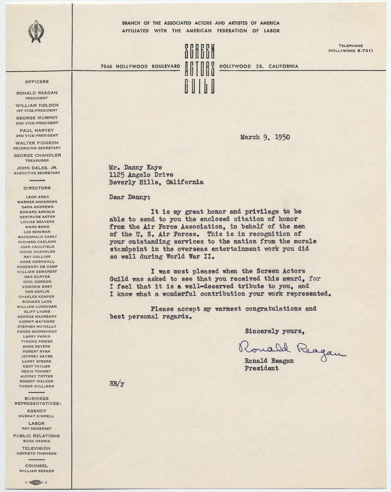 [ Ronald Reagan to Danny Kaye, March 9, 1950]