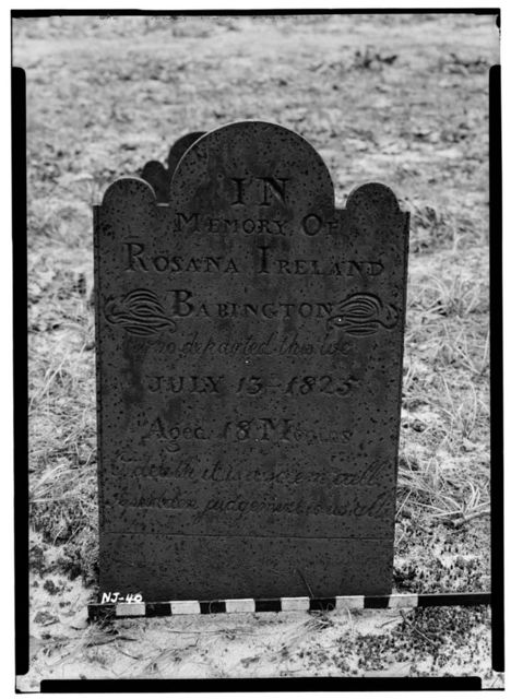 Rosanna Ireland Babington Cast Iron Gravestone, Batsto Museum (moved from ME, Weymouth), Batsto, Burlington County, NJ