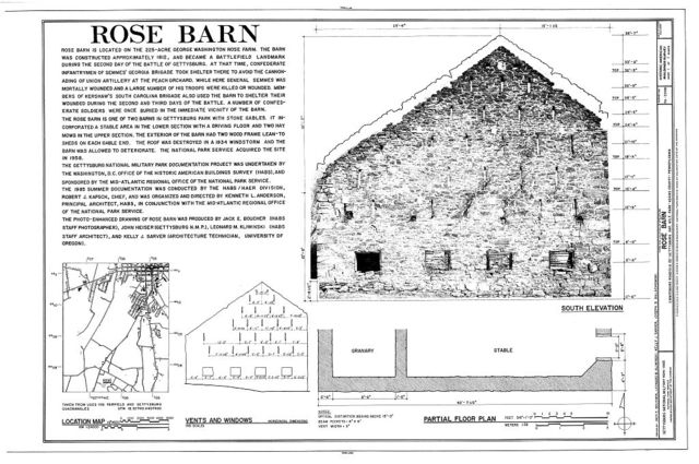 Rose Barn, Emmitsburg Road (U.S. Route 15), Gettysburg, Adams County, PA