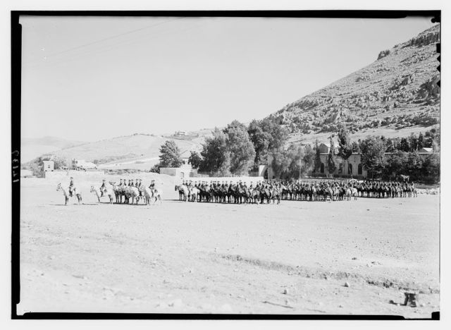 Royal Scots Greys, cavalry groups in Nablus. Large mounted group