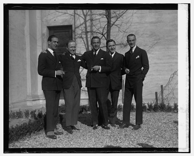 Rudolph Valentino at Italian Embassy with attaches, 1/29/26