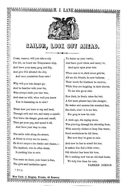 Sailor, look out ahead. New York: C. Dingley, Printer, 45 Bowery