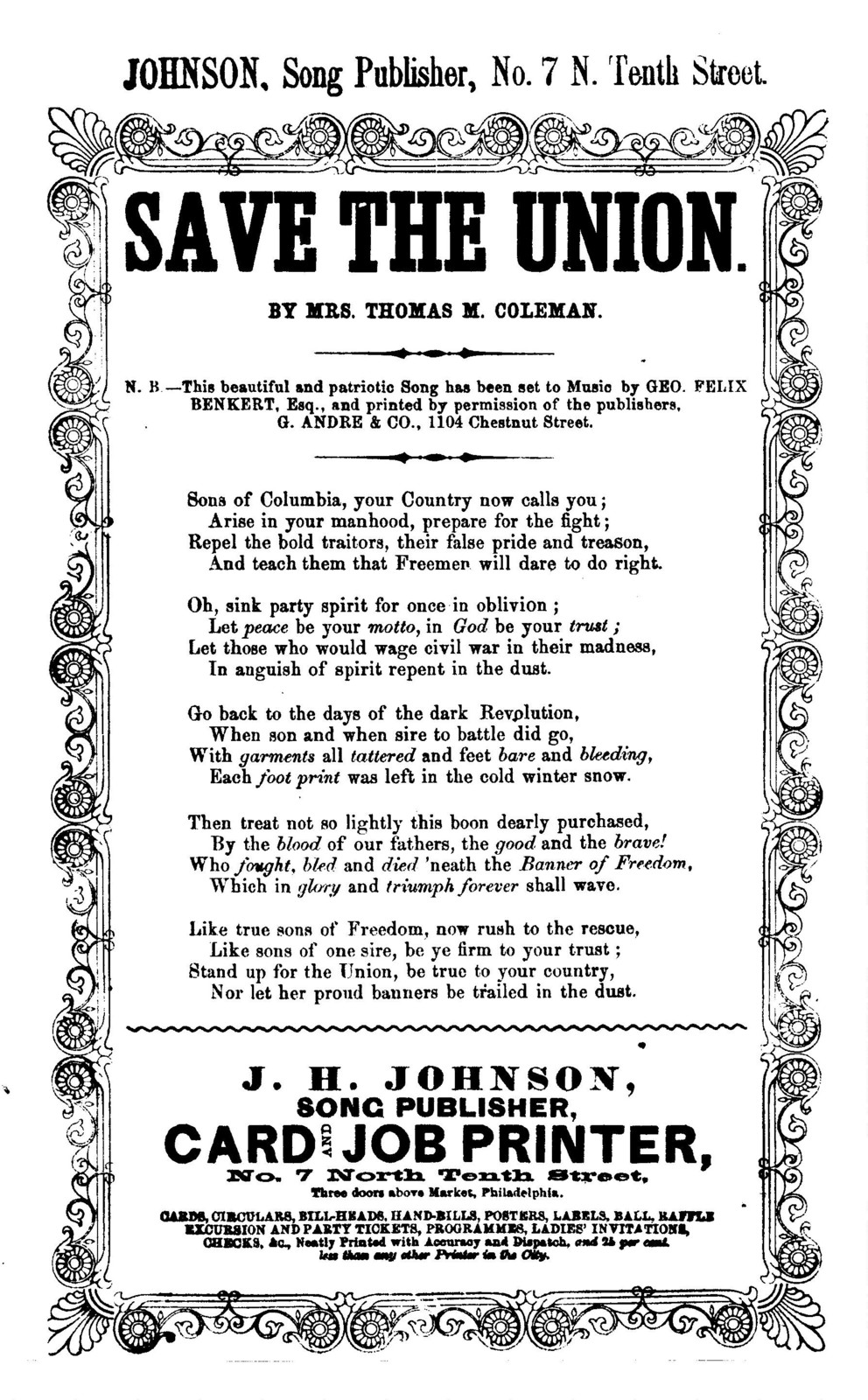 Save the Union. By Mrs. Thomas M. Coleman. J. H. Johnson, Song Publisher, ... Phila