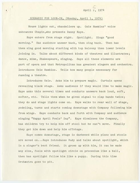 Scenario for Look-In, (Monday, April 1, 1974)