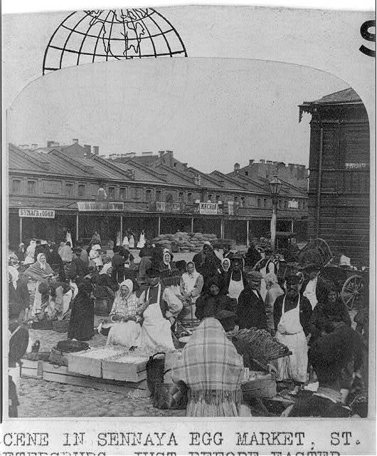Scene in Sennaya Egg Market, St. Petersburg, Russia, just before the Easter Festival