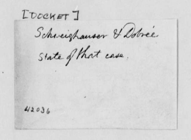 Schweighauser & Dobree, no date, Cover Sheet for Case