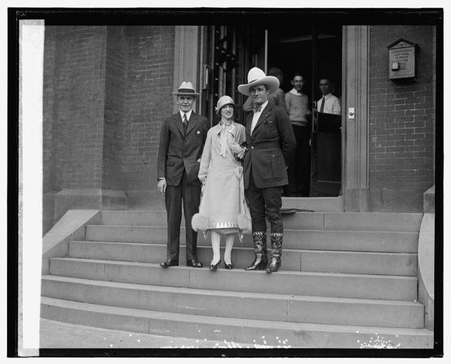 Sec. Jardine and Mr. & Mrs. Tom Mix, 5/21/25