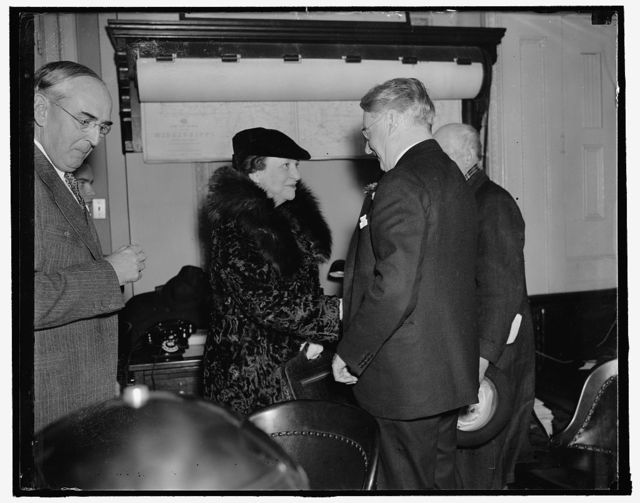 Sec. of Labor before senate committee. Washington, D.C., Feb. 4. Secretary of Labor Frances Perkins greets Senator Royal S. Copeland, D. of New York, Chairman of the Senate Commerce Committee, where in a statement to the committee she opposed the labor provisions of the pending Maritime Bill, the bill contains labor provisions which would apply mediation and arbitration principles of t he railway labor act to the maritime industry, 2/4/38