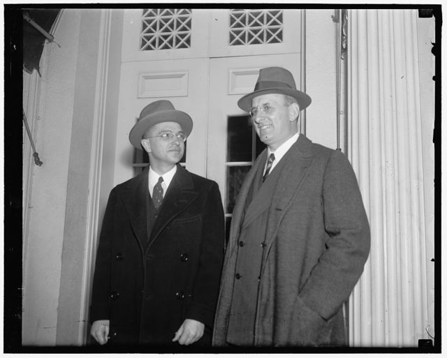 Secretary and new Undersecretary of Treasury see President Roosevelt. Washington D.C. Secretary of Treasury Morgenthau (right) with Roswell Magill, newly appointed undersecretary, as they left the White House today after a confereence with President Roosevelt
