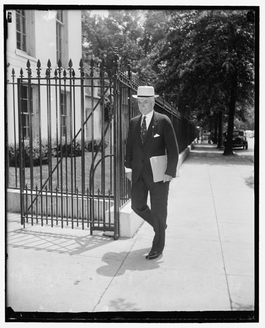 Secretary of State Hull arrives at White House for final conference on neutrality message. Washington, D.C., July 14. Secretary of State Cordell Hull entering a side door of the White House today for a final conference on the neutrality message President Roosevelt transmitted to Congress