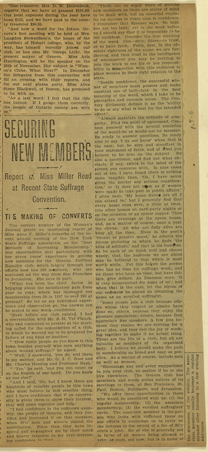 Securing new members; report of Miss Miller read at Recent State Suffrage Convention