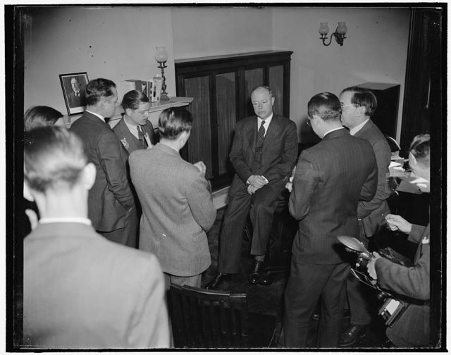 Sen. Taft returns for Congressional opening. Washington, D.C., Jan. 2. Back from a swing around the country on which he said he learned that 'sentiment against the New Deal is constantly rising,' Senator Robert A. Taft, Republican of Ohio, today told reporters the neutrality zone policy 'tends to involve us in disputes with other nations that might conceivably lead to war.' He added that attempts by the U.S. and other American countries to enforce a security zone around North and South American are perfectly indefensible and ridiculous