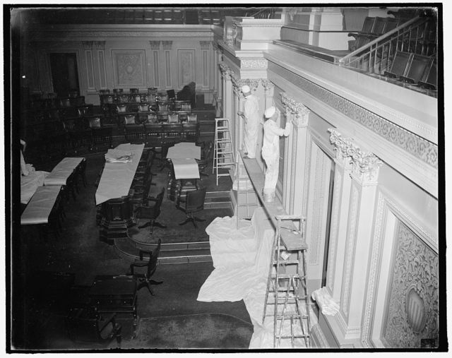 Senate chamber renovated. Washington, D.C., Sept. 28. While the Solons are back home repairing their political fences, workmen are busy doing a face-lifting job on the Senate Chamber. The historic chamber will be completely painted and renovated before the next session of Congress, 9/28/37