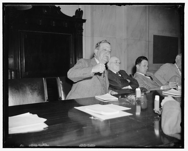 "Senate investigates the cotton industry. Washington, D.C., April 25. Senator Ellison D. ""Cotton Ed"" Smith, of S.C. and Chairman of the Senate Agriculture Committee threatens to adjourn cotton investigation hearings, unless witnesses keep personalities out of hearings, 4/25/38"