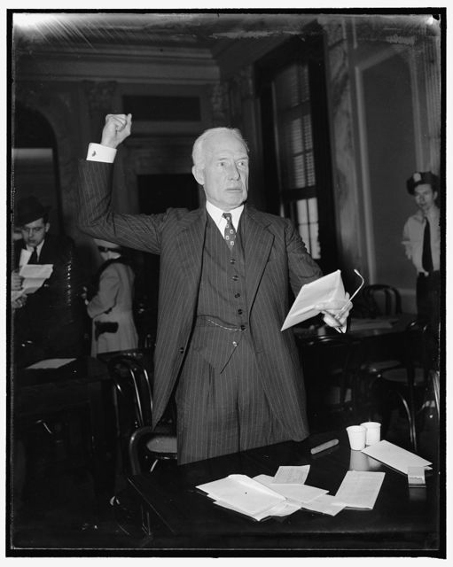 "Senate lobby committee again refuffed. Washington, D.C., April 20. Efforts of the Senate Lobby Committee to obtain records of the National Committee to uphold Constitutional Government hit another snag today when Sumner Gerard, Treasurer of the Organization, testified he did not have in his ""control"" a list of contributors to the National Committee. Gerard, A brother of James Gerard, former Ambassador to Germany, was questioned by the committee in his investigating of Lobby activities uding congressional consideration of the Government reorganization bill, 4/20/38"
