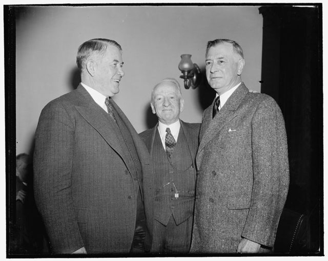 Senate Majority Leader and men who helped elect him. Washington, D.C., Dec. 31. Senator Alben Barkley, new Majority Leader of the Senate, snapped with Carter Glass and Key Pittman. It was Pittman who nominated him and after Pat Harrison had declined to be considered, the caucus members unanimously made Barkley their leader for the 76th Congress, 12/31/38