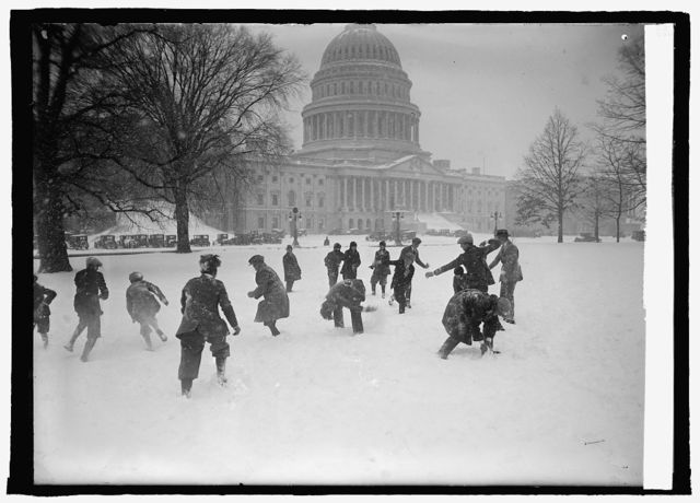 Senate pages in snow ball battle at Capitol, [Washington, D.C.], 1/2/25