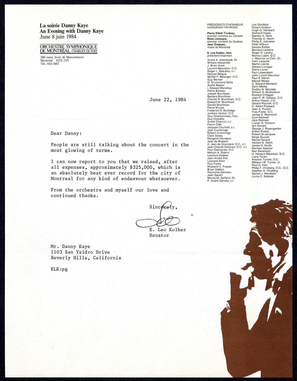 [ Senator E. Leo Kolber, to Danny Kaye, June 22, 1984]