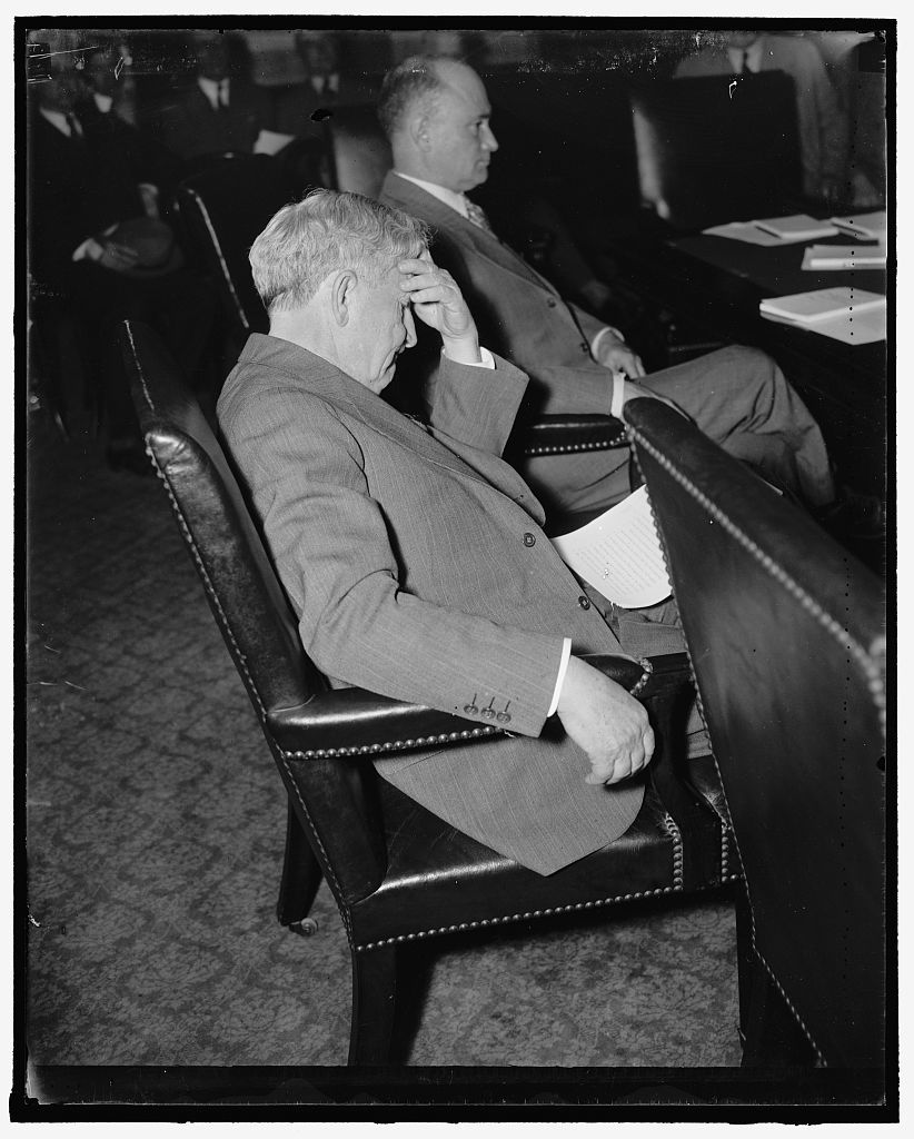 Senator from Texas. Washington, D.C., May 11. Senator Morris Sheppard, Democrat of Texas, seemed in a meditive mood today as he listened to witnesses at the Senate Judiciary Committee hearing, 5/11/37