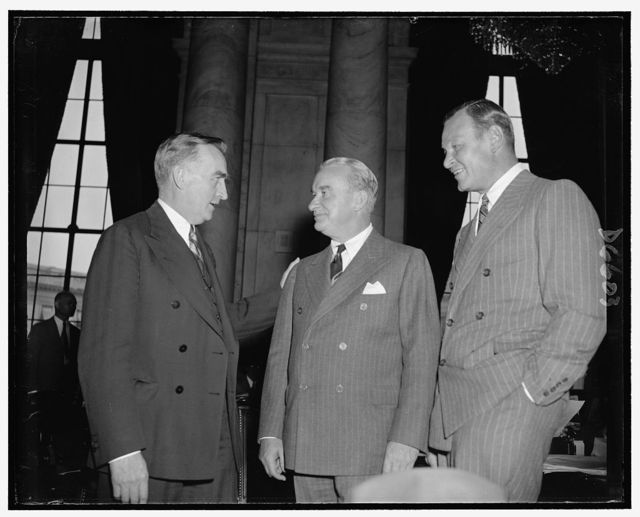 Senator Joseph C. O'Mahoney, left, co-chairman of the Monopoly Investigating Comm., & Donald Brown, Pres. of the United Aircraft Corp., & Frederick B. Rentachler, Chairman of the Board