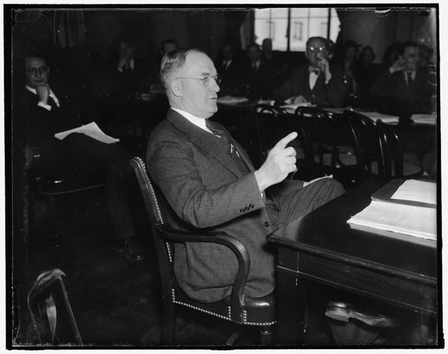 """Senator testifies before Senate Committee. Washington, D.C., Jan. 27. Senator Edward R. Burke, of Neb. appearing before a Senate Judiciary Subcommittee which opened hearings on his resolution to authorize an inquiry of the NLRB, Sen. Burke, declared that the Federal Agency has created """"widespread distrust' and """"almost universal condemnation,"""" 1/27/38"""