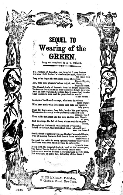 Sequel to Wearing of the green. Sung and composed by E. T. Welch. H. De Marsan, Publisher, 60 Chatham Street, N. Y
