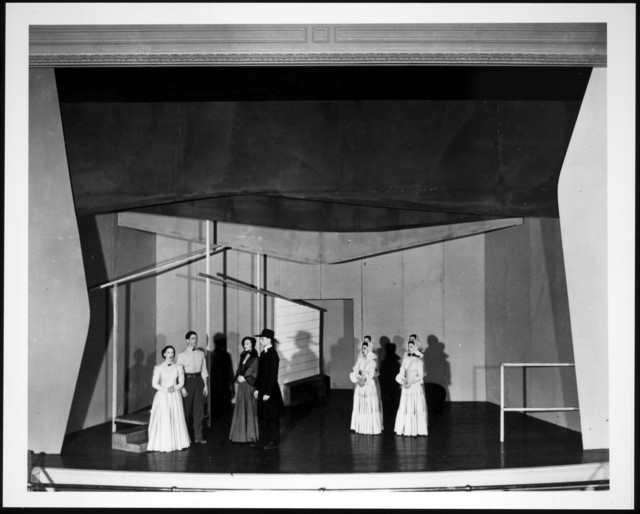 Set and cast for the first production of Appalachian Spring. Left to right: Martha Graham, Erick Hawkins, May O'Donnell, Merce Cunningham, the four followers. A posed picture rather than a still from the dance, 1944