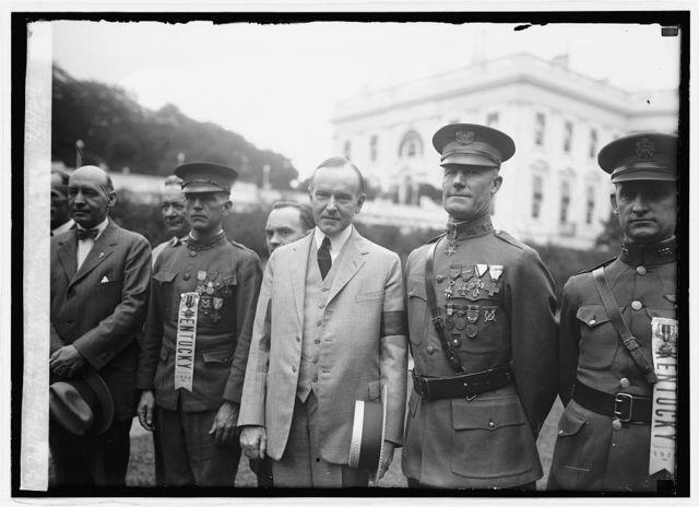 Sgt. Willie Sandlin, Pres. Coolidge, Sgt. Sam. Woodfill, 9/5/24