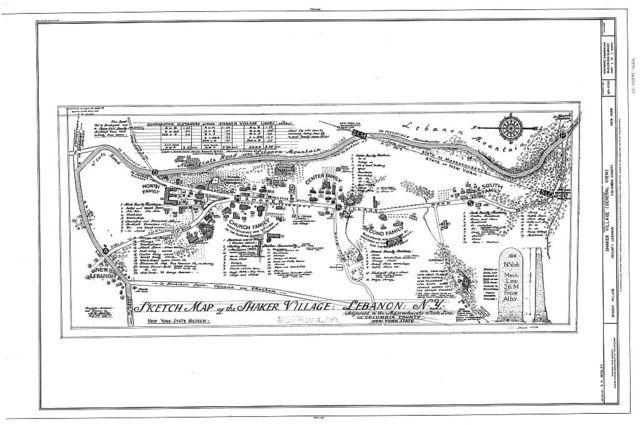 Shaker Village (Sketch Map), New Lebanon, Columbia County, NY