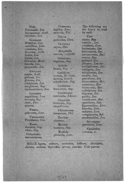Shells for exchange ... The shells on this list can be sent by mail ... A. A. Hinkley Du Bois, Ill. [n. d.].