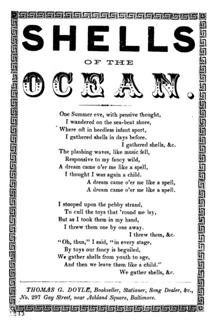 Shells of the ocean. Thomas G. Doyle, Bookseller, Stationer, &c., No. 297 Gay Street, near Ashland Square, Baltimore