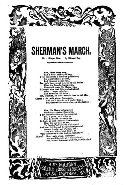 Sherman's march. Air: Ginger blue. By Michael Fee. H. De Marsan. No. 54 Chatham Street, N. Y