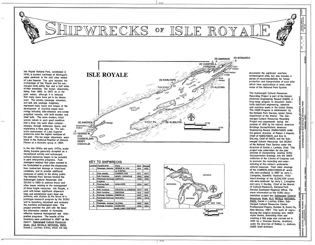 Shipwrecks of Isle Royale National Park, Surrounding waters of Lake Superior, Houghton, Houghton County, MI