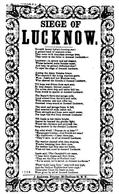 Siege of Lucknow. J. Andrews, Printer, 38 Chatham St., N.Y