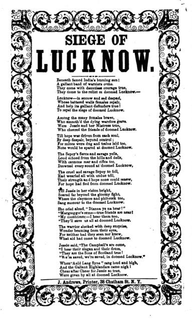 Siege of Lucknow. J. Andrews, Printer, 38 Chatham Street, N. Y