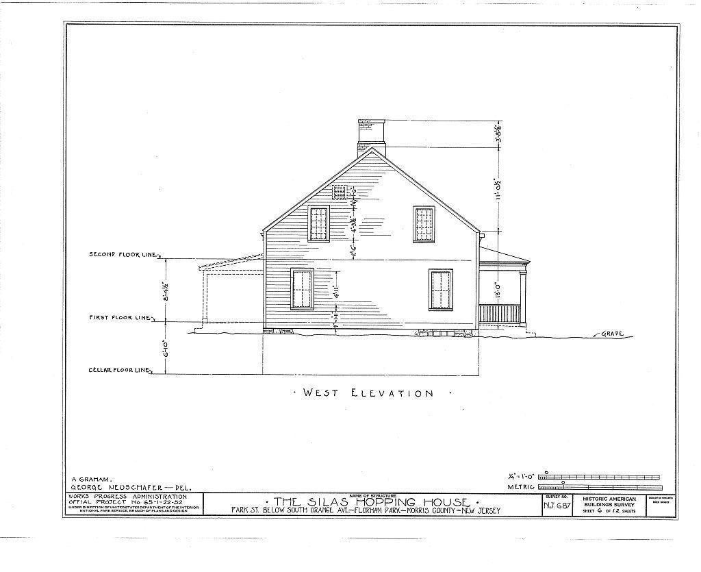 Silas Hopping House, Park Street, Florham Park, Morris County, NJ