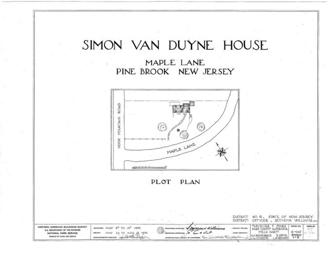 Simon Van Duyne House, Maple Lane & Hook Mountain Road, Pine Brook, Morris County, NJ